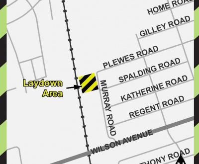 Map of 62 Murray Road Metrolinx Laydown area