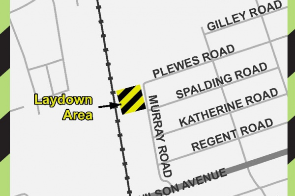 Map of 62 Murray Road Metrolinx Laydown area